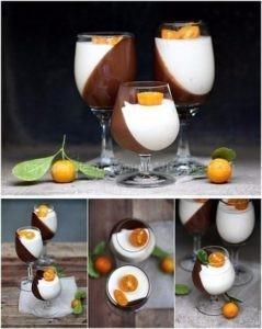 """Темный шоколад и апельсиновая """"панна котта""""."""