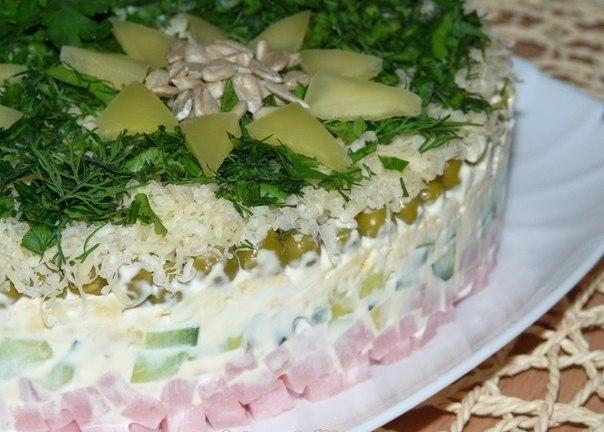 Салат с ветчиной и авокадо.