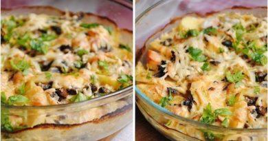 Картофельный гратен с курицей и грибами.
