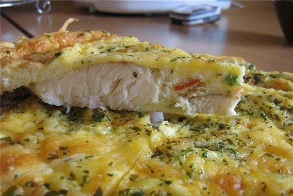 Рыба, запеченная в яйце с майонезом.