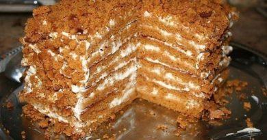 Медовый тортик, для тех, кто не любит раскатывать тесто.