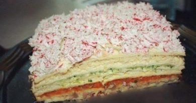 """Закусочный торт """"Рыбный""""."""