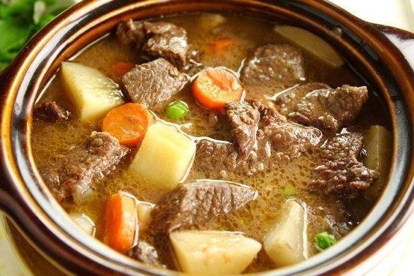 Тушеная говядина с овощами.