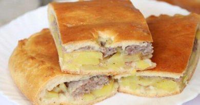 Сытный пирог с картофелем и фаршем.