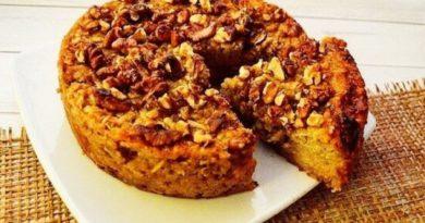 Яблочный кекс с грецкими орехами.