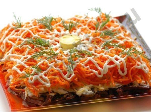 Пикантный салат с мясом и морковью по-корейски.