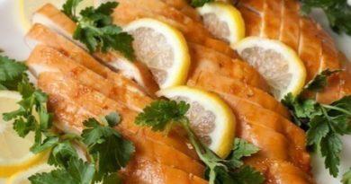 Вкусные медово-лимонные куриные грудки.