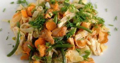 Салат с курицей и лисичками.