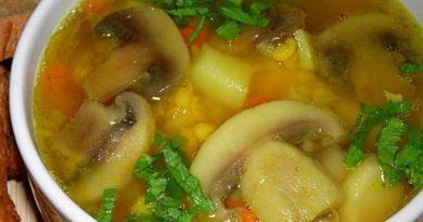 Гороховый суп с курицей и грибами.