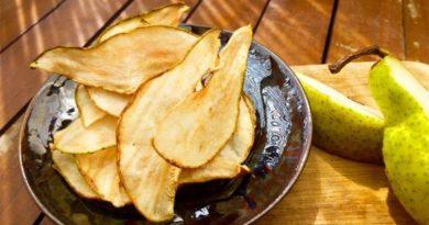 Грушевые чипсы с корицей.