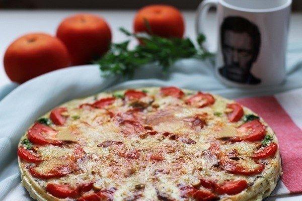 Киш с грибами и помидорами