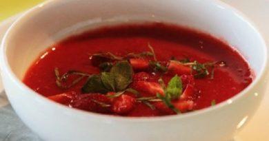 Королевский клубничный суп с мятой