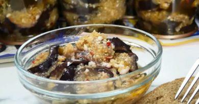 Консервация на зиму: баклажаны с чесноком