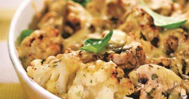 Цветная капуста запеченная в сырном соусе с грибами