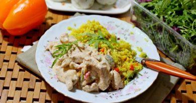 Курица с овощами в сливках
