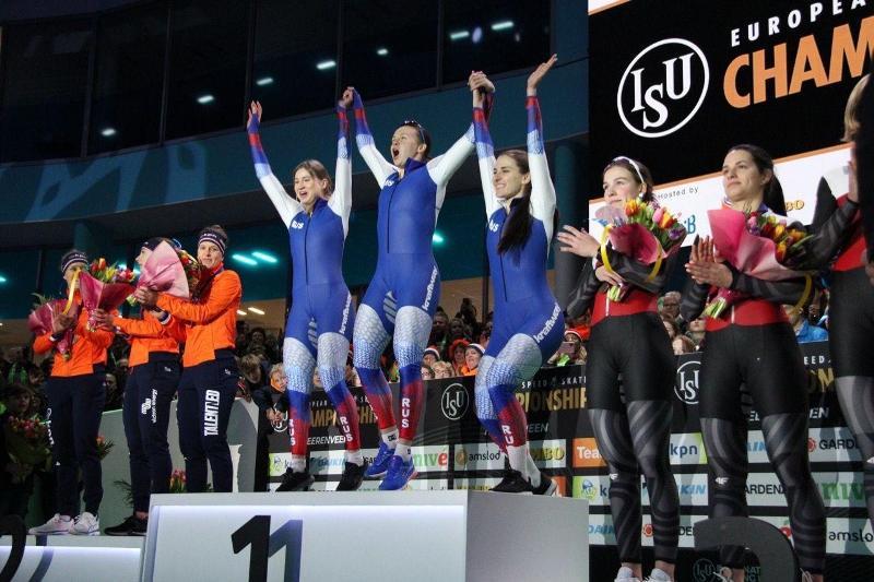 Россия завоевала золото в командном спринте на чемпионате Европы в Нидерландах