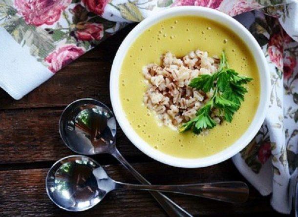 Овощной суп-пюре (с жареной перловкой)