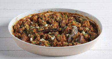 Запеченная говядина с орзо по-гречески