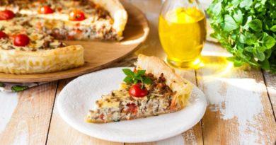 Итальянский пирог с фаршем и помидорами