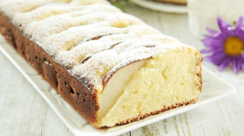 Творожный кекс с грушами