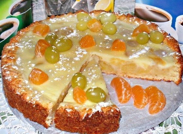 Творожно яблочно-виноградный пирог