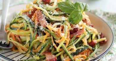Спагетти из овощей с соусом карбонара