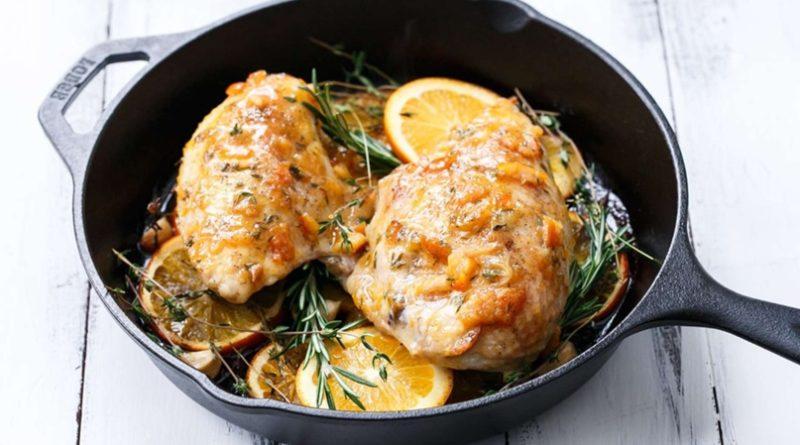 Жареные куриные грудки с апельсиновым мармеладом